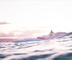 ocean, paysage, and pink image