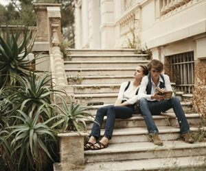 couple, stairs, and girl image