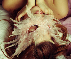 girl, mask, and feather image