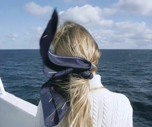 boat, ponytail, and sea image