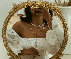 girl, jewelry, and mirror image