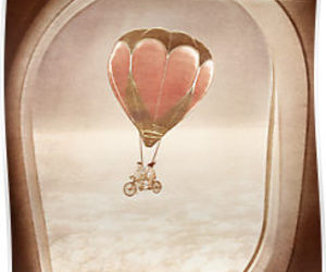 balloon, plane, and vintage image