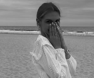 beach, style, and black and white image