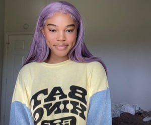 dimples, graphic tee, and purple hair image