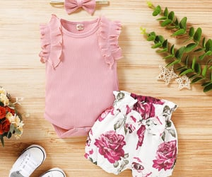 baby girl, flower print, and stylish summer outwear image
