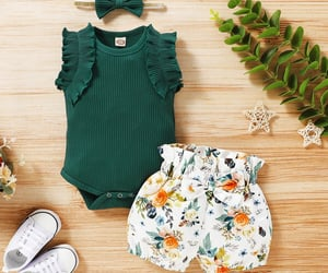 baby girl, flower print, and fashion clothes image
