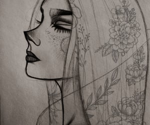 art, girl, and pencil image