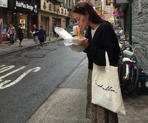 girl, food, and city image