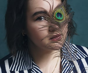 aesthetic, girl, and peacock image