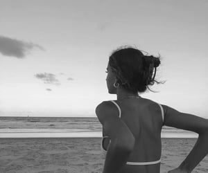 beach, girl, and black and white image