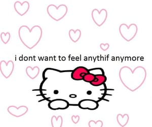 hello kitty, sad, and sanrio image