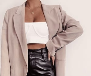 accessories, leather pants, and necklace image