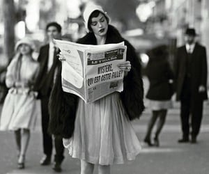 vintage, black and white, and newspaper image
