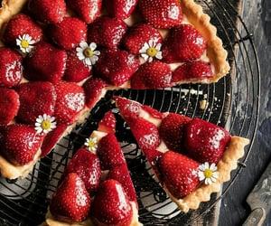 strawberry, tart, and dessert image