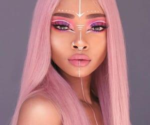 long hair, pink, and pink lips image