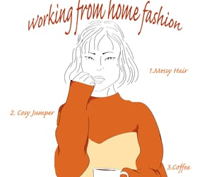 coffee, work from home, and fashion illustration image