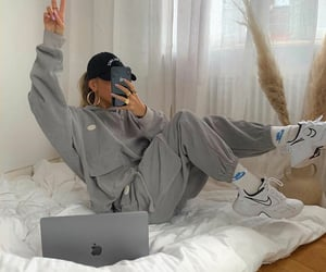 bed, outfit, and comfy image