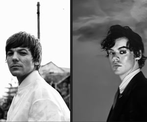 black and white, louis tomlinson, and Harry Styles image