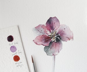 watercolor painting, watercolor flowers, and florallove image