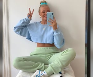 blue, green, and outfit image