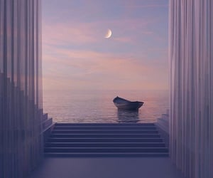 moon, boat, and sunset image