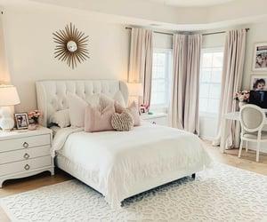 bedroom, beige, and hardwood floor image