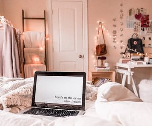 bedroom, inspiration, and laptop image