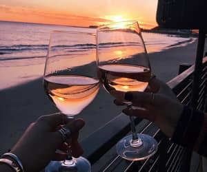 wine, sunset, and beach image