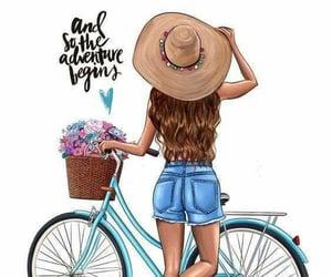 bicycle, girl, and الوان image