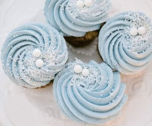 food, blue, and cupcake image
