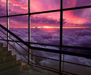 clouds, purple, and staircase image