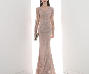 girl, long dress, and sequin dress image