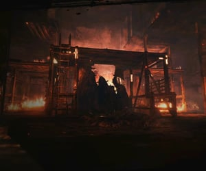 burning, dark, and red image