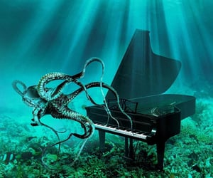 art, octopus, and piano image