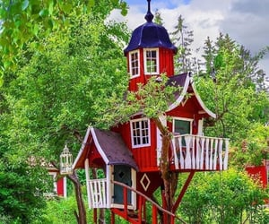 cabin, cabins, and tree house image