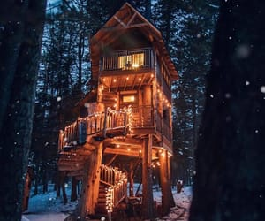 cabin, forest, and light image