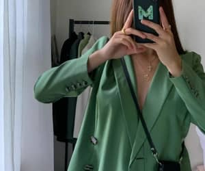 blazer, green, and handbag image