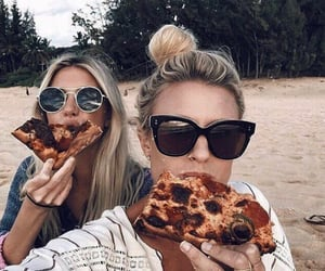 pizza, girls, and fashion image