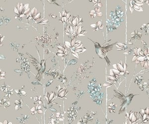 bird, floral, and pattern image