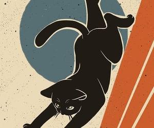 art, illustration, and black cat image