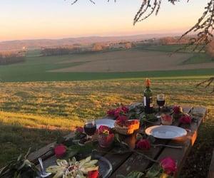 nature, sunset, and wine image
