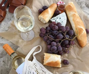 bread, grapes, and wine image