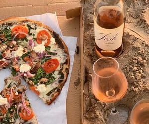 beach, pizza, and wine image