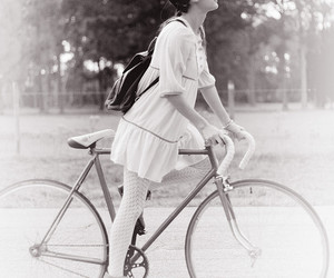 girl, black and white, and bicycle image