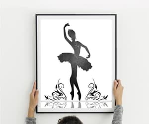 ballet dancer, ballerina print, and black watercolor image