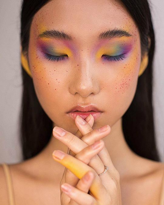 art, colorful, and makeup image