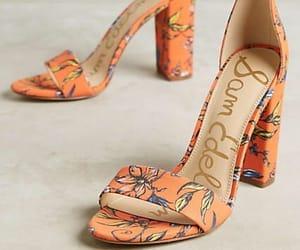 floral, high heels, and orange image
