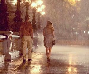 rain, midnight in paris, and couple image