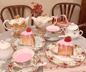 pink, tea, and cake image