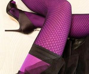 black, stockings, and fishnet image